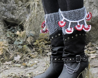 Red Floral fringe boot cuffs, Boho boot covers, Gypsy boot socks, Botanical accessory, Hippie boot cuffs, Gray Boot socks, Ethnic boot cuffs