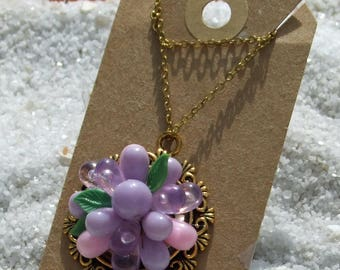 Wedding Necklace, Prom Necklace, Purple Necklace, Flower Necklace, Vintage Necklace, Beaded Necklace, Pearl Necklace, Gold Necklace