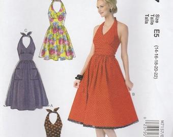 Lovely Halter Dress Pattern McCalls 7157 Sizes 14 - 22 Uncut