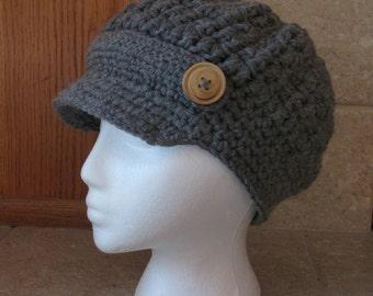 Newsboy Hat, Crochet Newsboy Hat, Knit newsboy cap,  Womens Hat, button, gray, neutral, charcoal