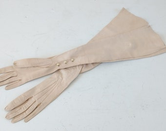 Vintage long leather opera gloves, 1940s long gloves, xs