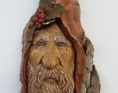 Winter Solstice Wood Spirit, Cottonwood Bark Wood Carving, Rustic Sculpture