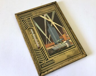 1934 World's Fair RARE Art Deco Souvenir Century of Progress Chicago Framed Thermometer with Hall of Science Print