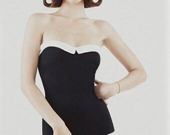 black swimsuit with collar TEODORA