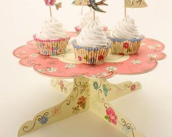 DIY cardboard cupcake stand, DIY cupcake display, wedding reception cupcake display, party food stand, dessert stand, floral cupcake stand