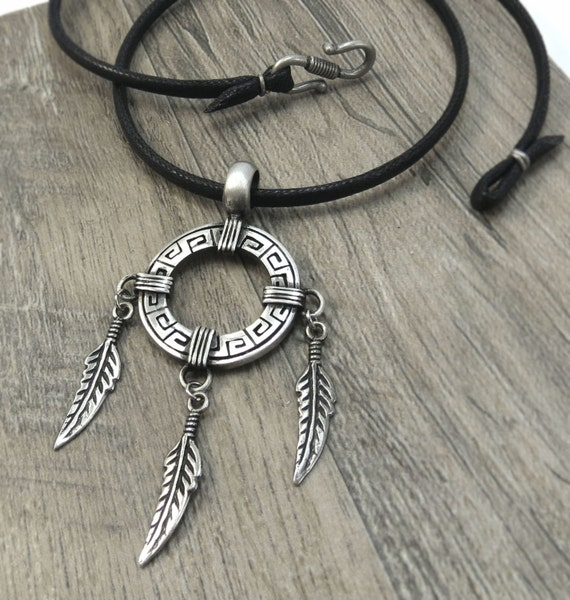 Native American-style Jewelry, Dreamcatcher Necklace - Feathered Dream Catcher Pendant, Mens Jewelry