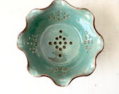 Berry Bowl - Ceramic Berry Bowl - Berry Bowl Colander - Ceramic Colander - Berry Colander - Berry Basket - Strainer. In Stock
