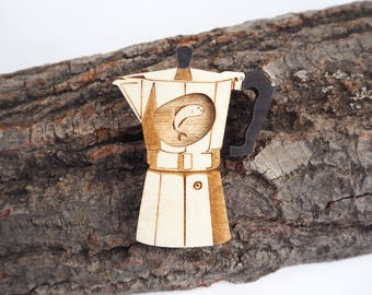 Fish in the Percolator Twin Peaks Brooch, Laser Cut Plywood Acrylic Jewellery, Coffee