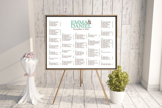 Wedding Seating Chart (Foundations) - Digital File, DIY, Printable, pdf, Green, Brown, Mint, Typography, Modern, Alphabetical, Rush, Table