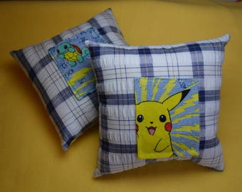 "Pikachu yellow Pokemon tooth fairy pillow, or one green ""Squirtle"" Turtle character, plaid cotton fabric polyester recycled pocket kids gift"