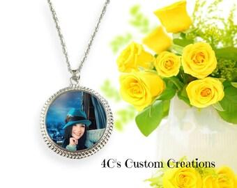LARGE Photo Pendant, Photo Necklace, Custom Photo Jewelry, Personalized Keepsake Jewelry, Picture Necklace, Photo Jewelry