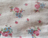 pink and blue floral print vintage cotton flannel fabric -- 35 wide by 2 7/8 yards