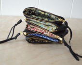 Black Leather Pouch with Floral Lining - Zipper Pouch, Coin Purse, Mini Wallet, Card Wallet, Upcycled Leather Zipper Bag