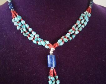 Gorgeous Turquoise Coral Lapis Lazuli Silver Beading Lariat Necklace