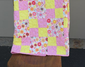 Pink Lemonade- Baby quilt-Pink and Yellow Flowers- Minky backing