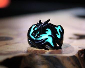 BLACK DRAGON Ring Stainless Steel Glow in the Dark