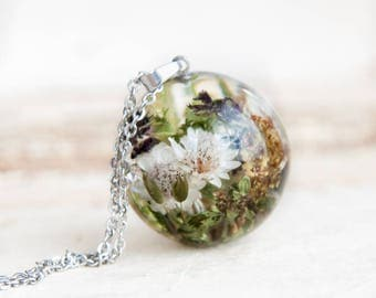 Real Flower Necklace   One-of-a-kind gift idea for her   Resin necklace with dried flowers   Nature jewelry   Nature gift idea Real flower