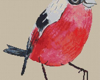 Beautiful Bullfinch Bird Avian Aviary Finch Cross Stitch Pattern Modern Design Instant Download PdF Pattern