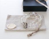 50s Aurora AB Bracelet / Triple-Strand Crystal Bracelet - Rhinestone Clasp Crystal Bridal Bracelet Vintage Jewelry Aurora Borealis Bracelet
