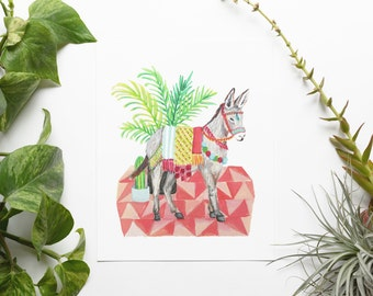 Donkey 8x10 Art Print - Boho Party Animal Giclée Print