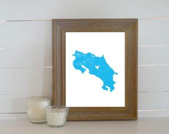 Costa Rica Distressed Map Print. Personalized 8x10 Country Art Print. Honeymoon Gift. Honeymoon Art. Wedding Art. Wedding Gift.