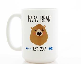 Papa Bear Mug. Papa Est. 2017, Fathers Day Mug. Pregnancy Reveal, Ceramic Coffee Mug. First Fathers Day Gift, Funny gift for dad.
