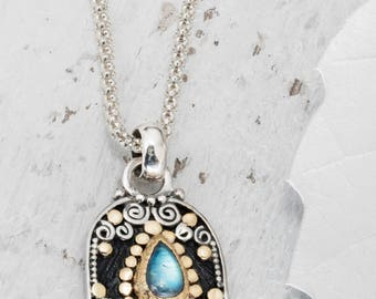 Reserved - Rainbow Moonstone Necklace, Hamsa hand, Good luck Charm, Hand of Hamsa, Amulet Necklace - Custom order for R.