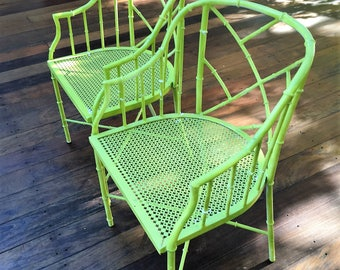 Set of two patio/deck faux bamboo barrel chairs- Metal/aluminum/Meadowcraft style- Local pick up only or Your Shipper