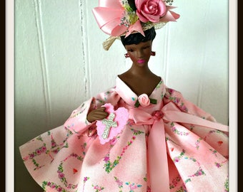 PINK LOVE Black Doll, African American Handmade Doll, Pink Porcelain Doll, OOAK Art Doll. Home and Office Decor
