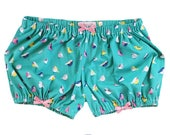 JULY PREORDER Lolita Bloomers turquoise birds pink bows stretch knit short cotton underwear lingerie drawers pajamas nightwear sleepwear