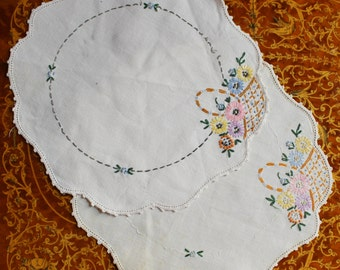 Hand embroidered doilies- Antique/ Vintage- Ivory, ecru- Flower Basket Detail- Set of Two- pair-  repurpose- shabby chic