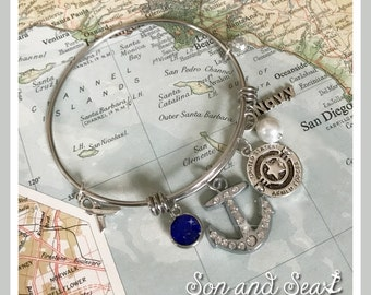 US Navy adjustable bangle charm bracelet by Son and Sea FREE US shipping