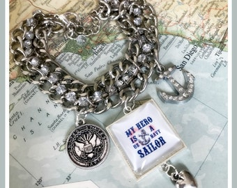 US Navy sailor hero charm bracelet by Son and Sea - free US shipping