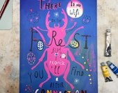 There Is No Wifi In The Forest Art Print - Hand Lettered Quote  - Gouache Typography Poster - Inspirational Wall Art - 5.8x8.3 | 8.3x11.6