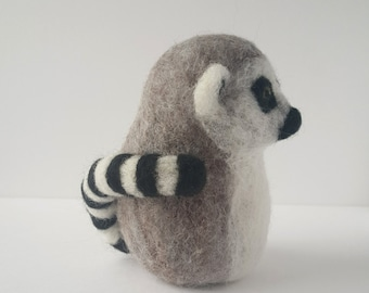 Ring Tailed Lemur - Needle Felted Sculpture