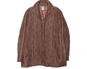 Vintage Quilted Silk Down Jacket Lightweight Oversized Dusty Brown L
