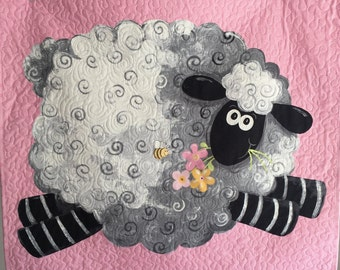 Baby Girl Quilt, Wall Hanging,  Baby Girl Blanket, Pink, White, Sheep, Lamb, Quiltsy Handmade