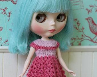 Blythe Dress -  New 2017 - Pink crochet dress for Blythe