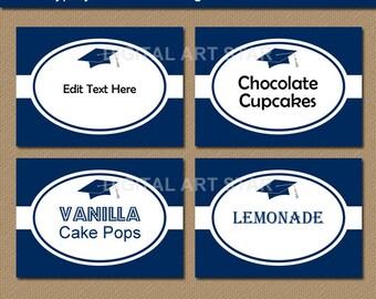 High School Graduation Candy Buffet Labels, Graduation Label Printable, Digital Download Buffet Cards, College Graduation Tent Cards G1
