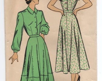 """1940's New York One Piece Shirtwaist Dress with Cap or Long Sleeves Pattern - Bust 38"""" - No. 369"""