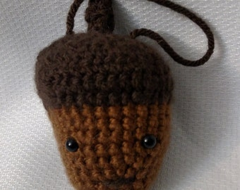 Handmade, Crocheted Acorn or Nut Ornament