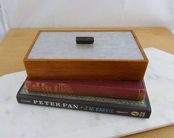 Vintage Wooded Lidded Box   Jewellery Box   Trinket Box   Storage Box   Pearlescent Faux Mother of Pearl Lid
