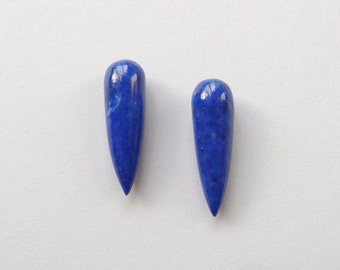 Blue Lapis Lazuli Smooth Spike Icicle Drops 6x20 mm One pair G5557