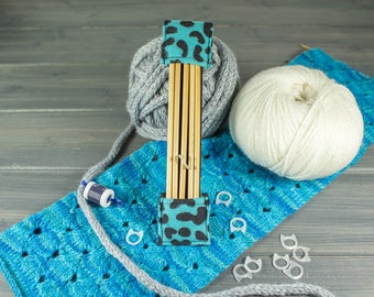 DPN Case - DPN Knitting Needle Organizer - Sock Progress Keeper - Knitting Needle Case - Turquoise and Black Leopard Print Flannel