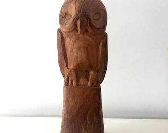 Vintage Hand carved owl sculpture / wood owl