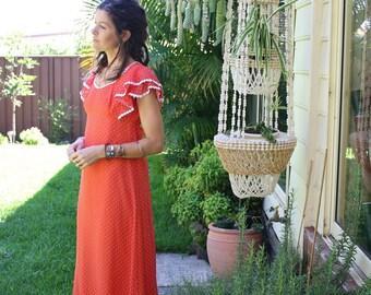 Vintage Emma Domb Maxi Dress, 70s daisy chain polka dot maxi, Small 4077