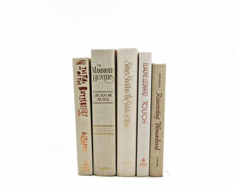Ivory Beige Decorative Books, GOld Old Book Set,  Book Decor, Wedding Centepiece, Book Stack, Instant Library, bookshelf decor, HOme Design