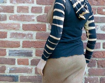 Striped Bamboo Hoodie, Size Small