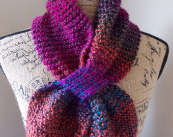 Knit Fuchsia Scarf, jewel tone scarf with keyhole hand knit from ombre deep color acrylic yarn, knit bow tie scarf, colorful street scarf