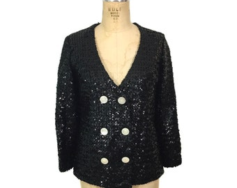 vintage 1960s sequin jacket / black / double breasted jacket / black white / 60s sequin jacket / women's vintage jacket / tag size 9